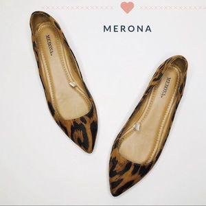 Merona Leopard Print Point Toe Flat Size 8